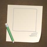 Quadrato del blocco per grafici del disegno a matita su documento Fotografie Stock