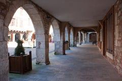 Quadrato del Castelnau-de-Montmiral Fotografia Stock