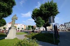 Quadrato del mercato in Bytow Polonia Fotografia Stock