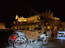 Quadrato del mercato di Cracovia di notte Fotografia Stock
