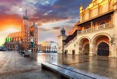 Quadrato del mercato di Cracovia, Polonia fotografia stock