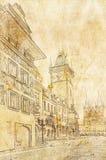 Quadrato del mercato di Praga, repubblica Ceca royalty illustrazione gratis