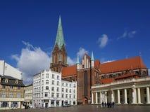 Quadrato del mercato e cattedrale a Schwerin Germania Fotografia Stock