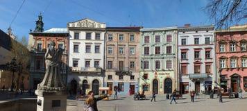 Quadrato del mercato a Lviv Fotografia Stock