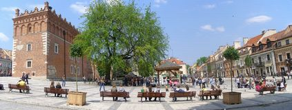 Quadrato del mercato, Sandomierz, Polonia Fotografie Stock Libere da Diritti
