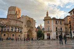 Quadrato del ` s Plaza de la Virgen, Valencia di St Mary Fotografia Stock Libera da Diritti