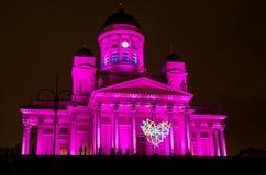 Quadrato del senato di Helsinki illuminato Immagine Stock