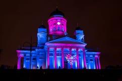 Quadrato del senato di Helsinki illuminato Fotografie Stock Libere da Diritti