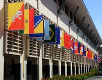 Quadrato del villaggio del villaggio olimpico Singapore della gioventù Fotografia Stock