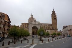 Quadrato della cattedrale di Tarazona Fotografia Stock
