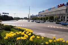 Quadrato della Repubblica a Almaty, il Kazakistan Fotografia Stock