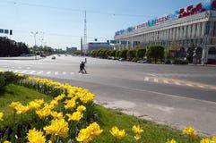 Quadrato della Repubblica a Almaty, il Kazakistan Immagine Stock Libera da Diritti