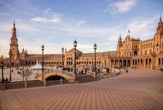 Quadrato della Spagna di Siviglia, Andalusia, Spagna immagine stock libera da diritti