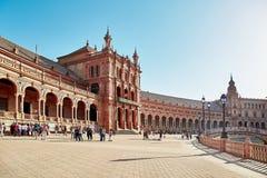 Quadrato della Spagna, Sevilla, Spagna fotografia stock