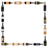 Quadrato delle bottiglie di vino fotografia stock libera da diritti