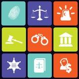 Quadrato delle icone della giustizia Fotografia Stock