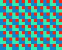 Quadrato di arte op all'interno dell'azzurro rosso di verde dei quadrati Fotografia Stock Libera da Diritti