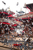 Quadrato di Bhaktapur Durbar con Royal Palace ed i piccioni Il Nepal, Kathmandu Fotografia Stock Libera da Diritti