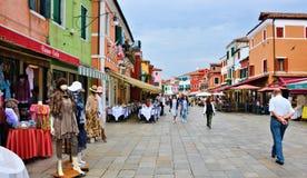 Quadrato di colore di burano di Venezia Fotografia Stock