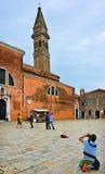 Quadrato di colore di burano di Venezia Fotografie Stock
