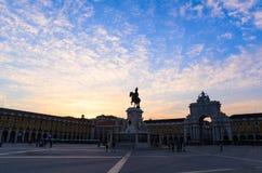 Quadrato di commercio a Lisbona Fotografia Stock Libera da Diritti
