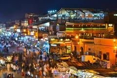 Quadrato di EL-Fnaa di Jemaa in Medina di Marrakesh, Marocco Fotografia Stock