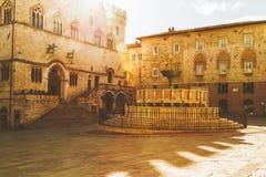 Quadrato di Fontana Maggiore a Perugia, Italia Fotografia Stock Libera da Diritti
