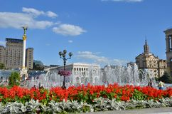 Quadrato di Khreschatyk a Kiev l'ucraina fotografia stock