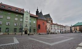Quadrato di Maly Rynek in vecchia città cracovia poland Immagine Stock