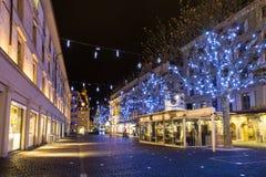 Quadrato di Molard alla notte durante la stagione di Natale Fotografia Stock Libera da Diritti