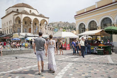 Quadrato di Monastiraki a Atene, Grecia Immagini Stock Libere da Diritti