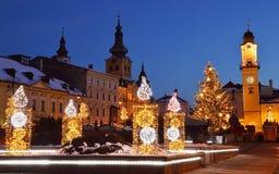 Quadrato di Natale in Banska Bystrica Immagine Stock Libera da Diritti