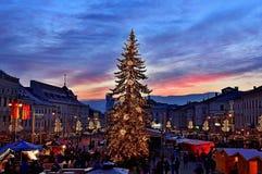 Quadrato di Natale in Banska Bystrica Fotografia Stock