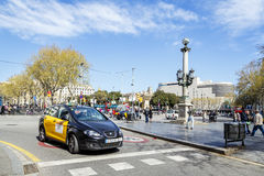 Quadrato di Placa de Catalunya Catalogna. Barcellona Fotografia Stock