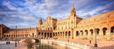 Quadrato di Plaza de Espana Spagna in Siviglia Andalusia fotografia stock libera da diritti