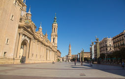Quadrato di Plaza del Pilar, Saragozza Immagini Stock