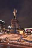 Quadrato di Pushkin a Mosca di notte Immagine Stock Libera da Diritti