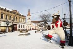 Quadrato di Rasnov nell'inverno Fotografie Stock