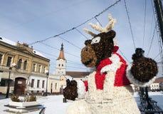 Quadrato di Rasnov nell'inverno Fotografia Stock