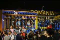 Quadrato di rivoluzione a Bucarest al festival delle luci 2018 Immagine Stock Libera da Diritti