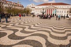 Quadrato di Rossio a Lisbona fotografia stock