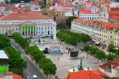 Quadrato di Rossio, Lisbona fotografia stock libera da diritti