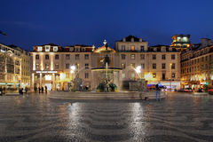 Quadrato di Rossio, Lisbona, Portogallo Fotografie Stock Libere da Diritti