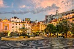 Quadrato di Rossio a Lisbona, Portogallo fotografie stock libere da diritti