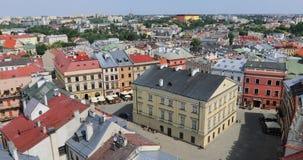 Quadrato di Rynek in vecchia città di Lublino, Polonia video d archivio
