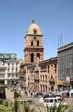 Quadrato di San Francisco Cathedral in La Paz Fotografie Stock