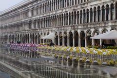Quadrato di San Marco durante l'inondazione Fotografie Stock Libere da Diritti