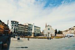 Quadrato di Santa Maria Novella un giorno nuvoloso fotografia stock libera da diritti