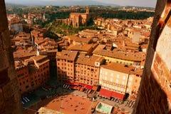Quadrato di Siena Italys Il Campo da sopra fotografia stock