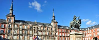 Quadrato di sindaco della plaza a Madrid Spagna fotografia stock
